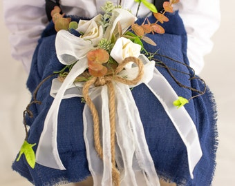 Natural Burlap Wedding Pillow and Flower Girl Basket with Eucalyptus Greenery Country Garden Customized Wedding Décor and Gifts for Bride