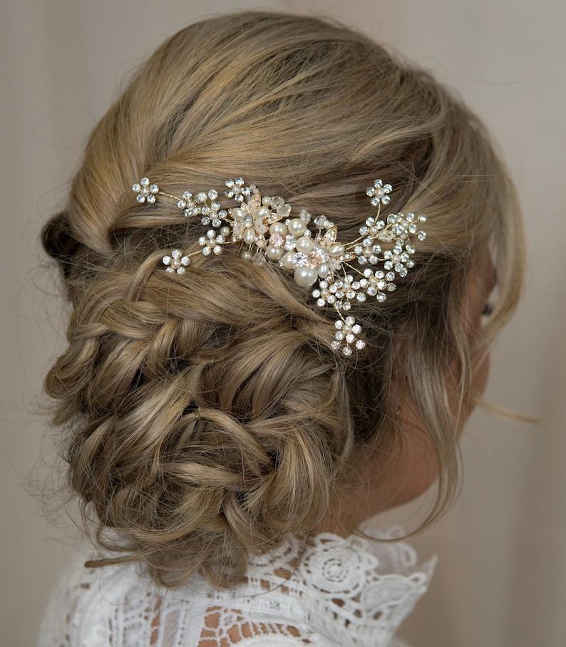 7b0a2a1aec95 Crystal Bridal Hair Vine Side Comb Swarovski Bride Hair