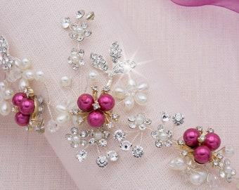 Pink Hair Vine Fuchsia Hair Piece Accessories for Bridesmaid Pink Headpiece Fuchsia Hair Comb Bright Pink Hair Comb Pearl Headpiece Prom