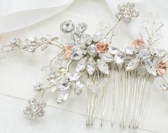 Art Deco Hair Comb Boho Headpiece Floral Hair Comb Silver Hair Comb Rose Gold Hair Comb Rose Gold Hair Vine Bride Couture Classy Bride