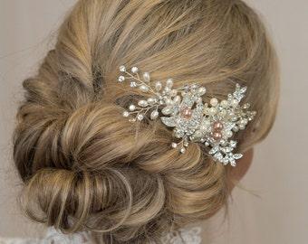 Rose Gold Hair Piece Antique Hair Comb Bridal Head Piece Bridal Hair Piece Bridal Hair Accessory Rose Gold Hair Comb Antique Jewelry
