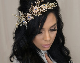 Large Crystal Hairpiece Wide Hair Vine Rhinestone Wedding Headpiece Prom and Special Occasions Accessories Flower Crown Silver Tiara
