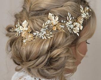 Gold Hair Vine Bridal Hair Vine Gold Leaf Crown Wedding Tiara Bridal Comb Gold Crown Metallic Gold Comb Flower Hair Vine Gold Leaf Hair Vine