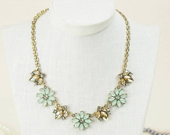 Green and Gold Crystal Necklace Bridesmaid Gift Bridal Jewelry Wedding Accessories Pretty Spring Jewellery