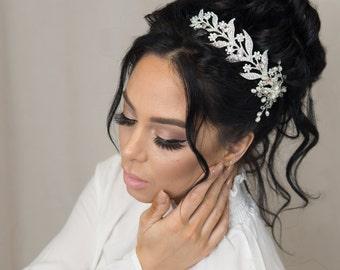 Bridal Hair Vine Comb Wedding Hair Piece Crystal Hair Vine Hair Accessories Rhinestone Hairpiece Bridal Headpiece Silver Bridal Headband