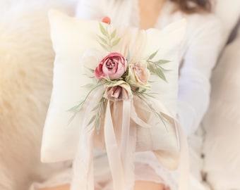Ring Bearer Pillow Flower Girl Basket Flower Girl Headband Greenery Blush Pink Wedding Pillow Baby Headband Floral basket and pillow