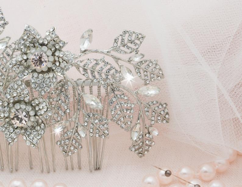 wedding hair clip for bride bridal hair piece silver bride accessory wedding day bridal side headpiece princess bride wedding headpiece
