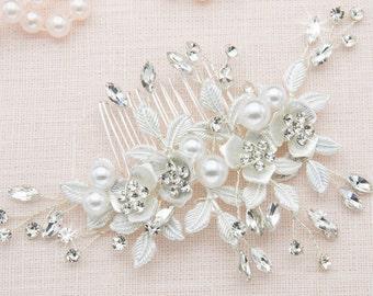 Pearl Hair Clip Floral Hair Comb Hair Comb Vintage Bridal Hair Comb Silver Weddings Accessories Leaf Hair Comb Bridal Shower Accessories
