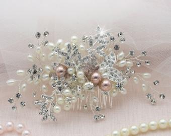 Hair Comb Floral Silver Taupe Pearl Headpiece Champagne Hair Comb Bridal Hair Veil Crystal Rose Hair Piece Flower Bride Clip Boho Bridal