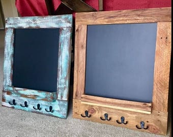 Rustic Chalk Board with Hooks. Available in any finish