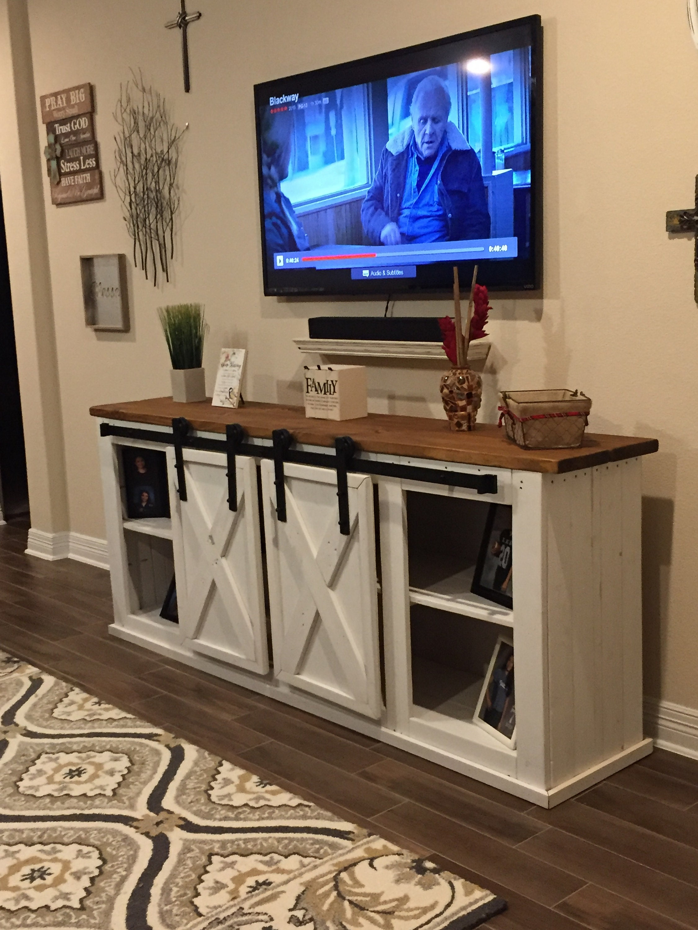 Rustic Entertainment Center With Sliding Barn Doors Made From Etsy