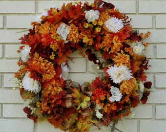 Fall Wreath for Front Door, Fall Foliage Wreath, Autumn Wreath, Fall Floral Wreath, Large Fall Wreath, Autumn Leaves, Housewarming Gift