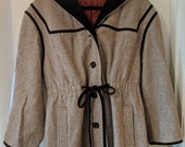 Vintage 1950s Youthcraft Brown Wool and Velvet Hooded Coat Unusual Large Size Sz 10
