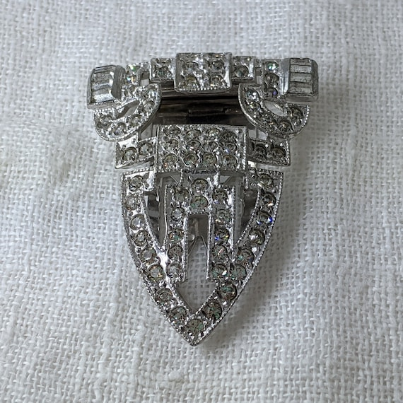 1930s Art Deco Rhinestone Dress Clip