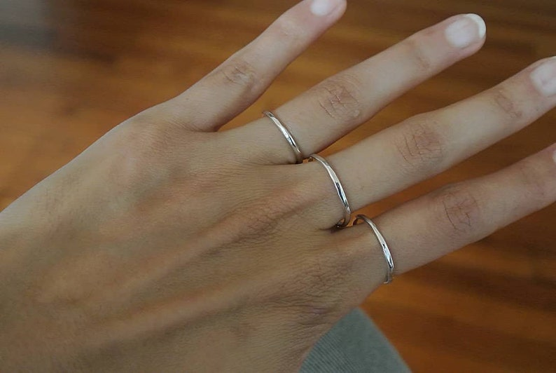 silver thin ring stacking ring mexican jewerly minimal ring set rings hammered ring hammered jewerly silver ring silver thin ring