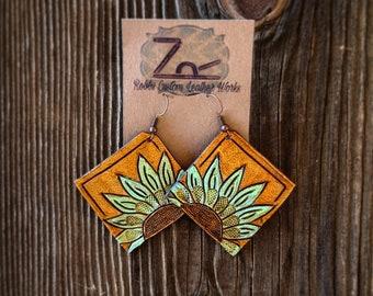 Leather Sunflower Earrings