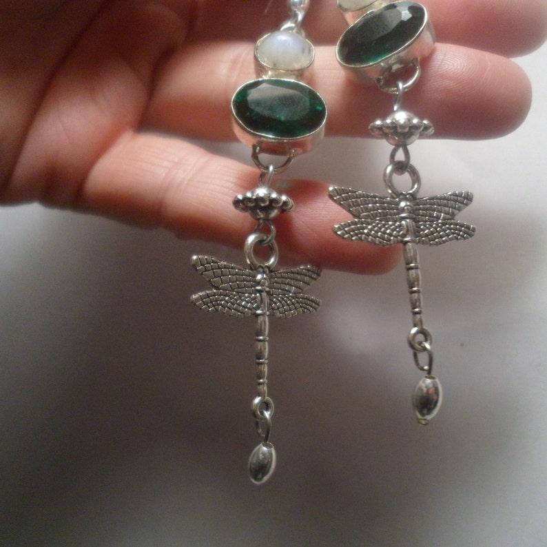 VINTAGE UNWORN NAVAJO Emerald Green Dragonfly Moonstone Quartz Pearls Bead Earrings Sterling Silver Ewires Native American Dangle Drop