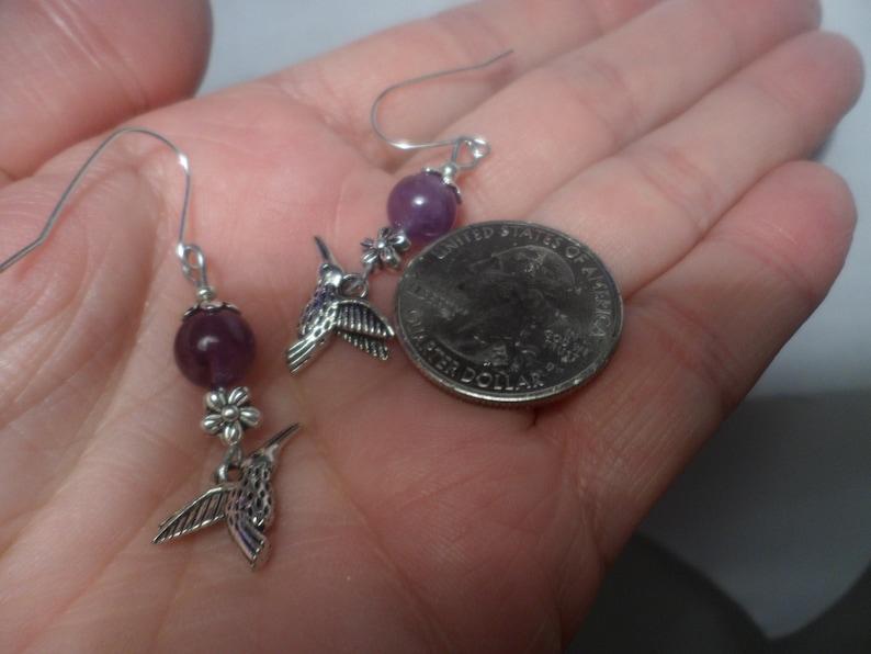VINTAGE UNWORN HUMMINGBIRD Amethyst Short Tiny Little Small Bead Dangle Drop Sterling Silver Ewires Flower Floral Earrings Purple Gem Fun