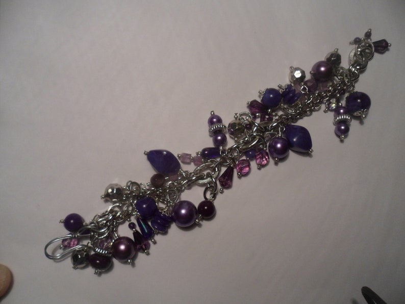 VINTAGE UNWORN AMETHYST Purple Faux Charoite Crystal Boho Bracelet Cuff Bead Silver Necklace Versace Style Charm Pearl Glass Lucite Fun Rare