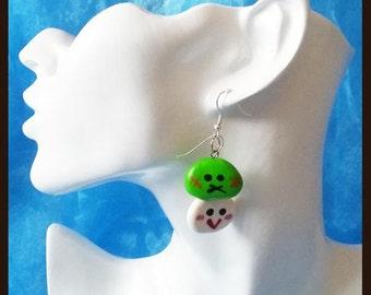 Polymer clay earrings small dango green white Fimoohrringe earrings handmade ear studs
