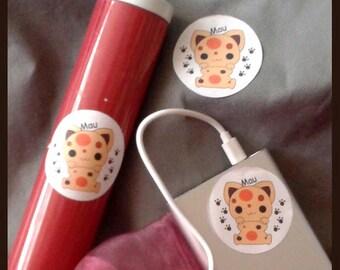 Stickers decals round cat with paws 5 cm sticker set Dekosticker
