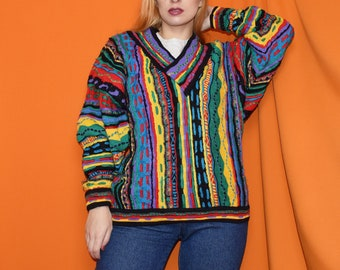 3a83cf7d778cd Vintage Coogi Unisex Multi Colour Jumper Size UK16 18 - Medium Large - Retro  - 80s 90s - Cosby - Unisex - Grunge - Slouchy - Cosy - Graphic