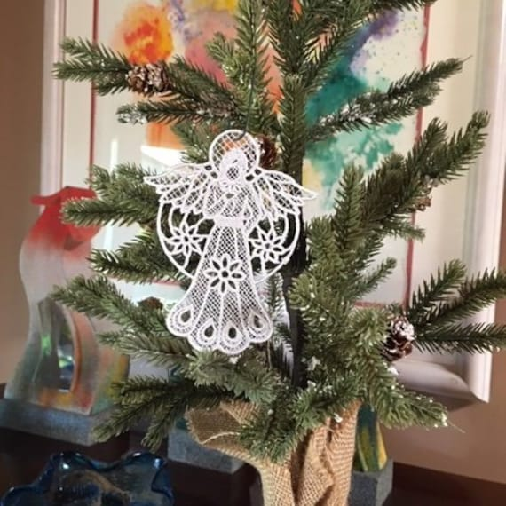 Halo Christmas Ornament.Lace Angel With Halo Christmas Ornament Free Standing Lace Embroidery Handmade Home Decor
