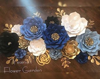 Lovely shades of blue paper flowers
