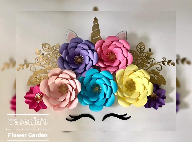 Sistema De Flores De Papel De Unicornio Etsy
