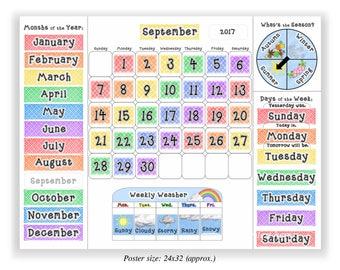 Calendar for Kids Learning- Classroom Teaching Months, Days, Seasons, Weather Teacher Student Tool Poster