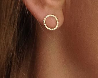 9ct Gold Stud Earrings, Gold Circle Earrings, Hammered Gold Hoop Earrings, Simple Textured Gold Earrings, Gold Jewellery