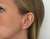 Solid Gold Stud Earrings, Small Gold Earrings, Mismatched Earrings, Unusual Earrings, Odd Earrings, Simple Studs, Set of Three Earrings