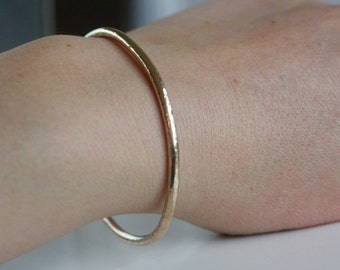 Gold Bangle, Hammered 9ct Gold Cuff, Solid Hammered Cuff Bangle, Simple Cuff Bangle, Open Bangle, Real Gold Bangle, Textured Gold Cuff