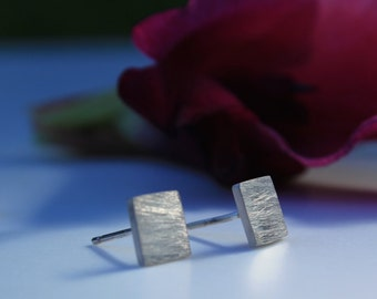 Square Stud Earrings, Sterling Silver Square Studs, Small Silver Studs, Brushed Silver Earrings, Simple Earrings, Eco Silver