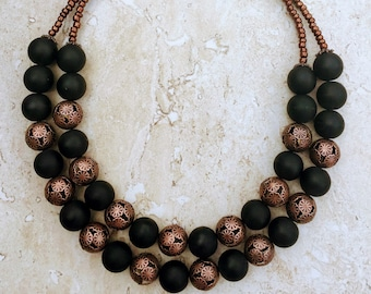 Black Necklace, Big Bold Chunky Necklace, Copper Necklace, Statement Necklace Gothic Jewelry Gothic Necklace Halloween Necklace Gift For Mom