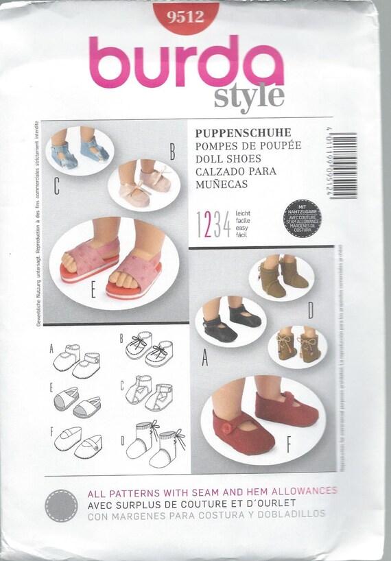 Burda 9512, Puppe Schuhe, Puppe, Sandalen, Clap Schuhe, geschnürte ...