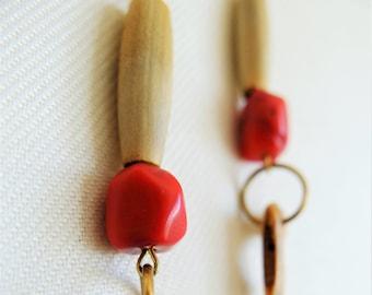 Boho Dangle Earrings Boho Earrings Ethnic Earrings Gypsy Earrings Red Coral Earrings Long Earrings Drop Earrings Simple Earrings