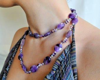 Gemstone Necklace Amethyst Necklace Stone Necklace Boho Necklace Gemstone Jewelry Purple Necklace Short Necklace Long Necklace