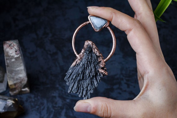 Witch Jewelry Big Moon Necklace Large Crystal Pendant Men Electroformed Jewelry Raw Black Kyanite Necklace Long Layering Wiccan Jewelry