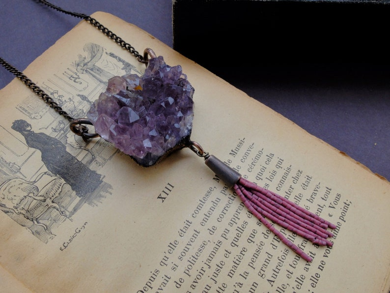 Raw Amethyst Necklace Stone Copper Pendant Wicca Goddess Statement Jewelry Electroformed Jewelry Gifts for Her Boho Crystal Necklace