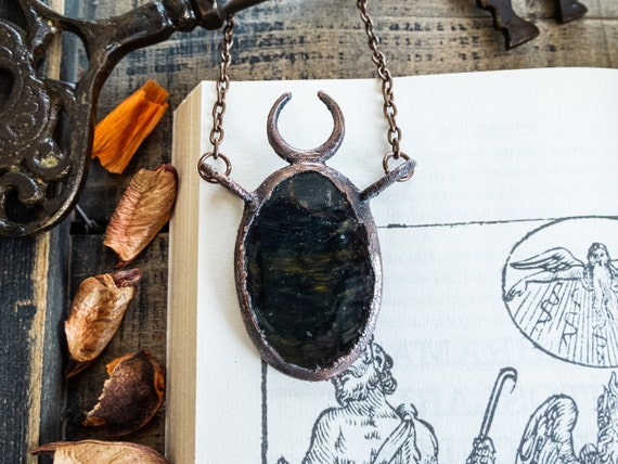 Wiccan Stone Pendant Tigers Eye Pendant Electroformed Jewelry Large Crystal Necklace Statement Witch Jewelry Bohemian Gemstone Necklace