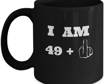 Middle Finger Mug 50th Birthday Gifts For Men And Women Funny Present 50 Year Old Relatives Friends 11oz Black Cup