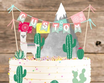 Tremendous Lama Cake Topper Etsy Personalised Birthday Cards Beptaeletsinfo