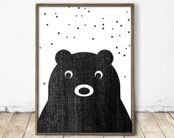 Bear Print, Baby Bear Print, Scandinavian Nursery Decor, Printable Bear, Woodland Nursery Print, Nordic Nursery, Black White Bear Print