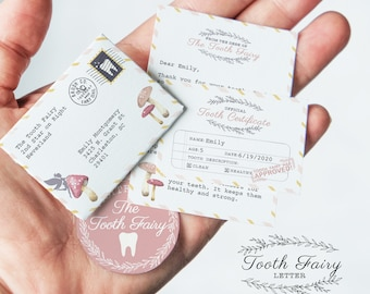 Personalize Mini Tooth Fairy Letter & Certificate, printable toothfairy, letter from tooth fairy, diy tooth fairy note, print tooth-fairy