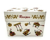 Ohio Arts Co. Recipes Box Metal Kitchen Utensils Vintage Kitchen Storage Decor