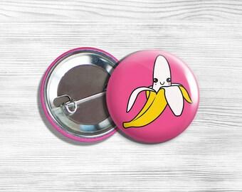 """Kawaii Banana Vegetarian Vegan Pinback Button Pin 1.75"""""""