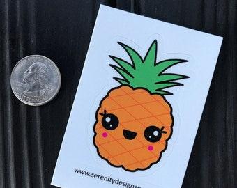 "Kawaii Vegan Vegetarian Sticker Mr. Pineapple  1.8 x 3"" Bumper Sticker"