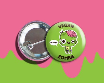 "Kawaii Zombie Boy Vegan Vegetarian Halloween Pinback Button Pin 1.75"""