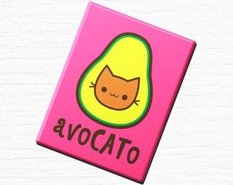 """Vegan Vegetarian Fridge Magnet """"AvoCATo""""  2.5x3.5"""